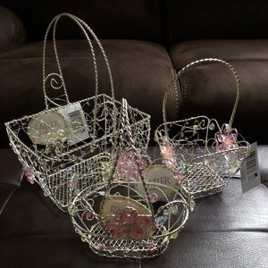 (#WEBM3) THREE MIXED WIRE EASTER BASKETS